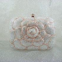 7707 Swarovski Crystal White/peach Floral Evening Purse Bag in Free Shipment Photo