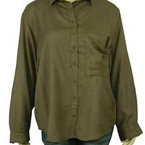77161 New Ecote Urban Outfitters Olive Green Long Sleeve Blouse Shirt Top L 12 Photo