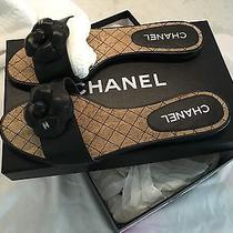 775 Saks Authentic Chanel Camilla Black Leather Sandals Flats Slides 40 Box Photo