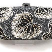 7762 Swarovski Crystal Hematite Leaves Evening Purse Clutch Bag in Free Shipment Photo