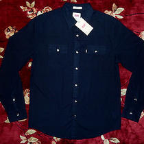 78 Levi's Mens Black Button Up Shirt Size Small S Authentic Dress Down Solid Photo