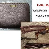 78 Nwt Cole Haan Zip Wrist Pouch Wristlet Bag Leather Purse T Moro Hand Strap  Photo