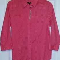 79.50 New Talbots Wrinkle Resistant Pink Blouse Shirt Collar Top 14 P L Petite Photo