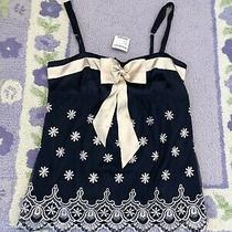 79 Nwt Bebe Size L Large Bow Cami Blouse Tank Top Shirt Blue Pink Embroidered Photo