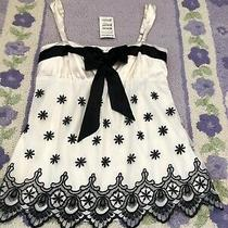 79 Nwt Bebe Size L Large Bow Cami Blouse Top Shirt Rare Embroidered Black White Photo