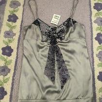 79 Nwt Bebe Size L Large Sequin Bow Cami Blouse Tank Top Shirt Rare Silver Gray Photo