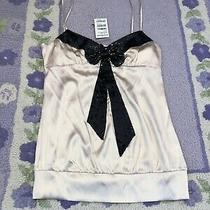 79 Nwt Bebe Size L Large Sequin Bow Cami Blouse Tank Top Shirt Rare Pink Black Photo