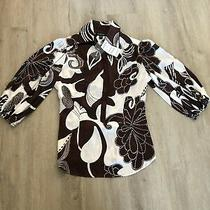 79 Nwt Bebe Size Large Brown White Silk Floral Balloon Sleeve Blouse Shirt Top Photo