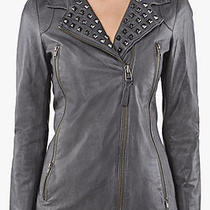 795 Mackage Leticia Studded Lamb Grey Leather Jacket Size Xsmall Nwt Photo