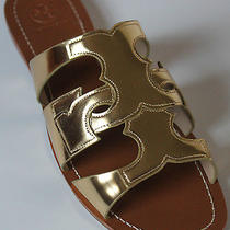 8 225 Tory Burch Anchor T Flip Flop Slide Flat Sandal Metallic Gold Leather Photo