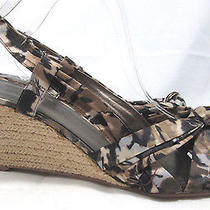 8.5 M Wedge-Heel Sandals Brown Gray Watercolor Satin Strappy Bandolino Rasken Photo