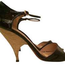8.5 Stunning Giuseppe Zanotti  Sculpted Lacquered Wood Patent Wedge Heels  Photo