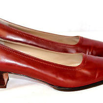 8 B Women's Salvatore Ferragamo Classic Pump Mahogany Leather & Topstitching Photo
