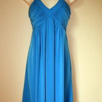 8 Calvin Klein Teal Dress Ln Perfect Condition Ruched Photo