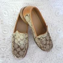 (8)  Coach Shoes  Flats / Monogram in Beige & Caramel          Mint Condition Photo