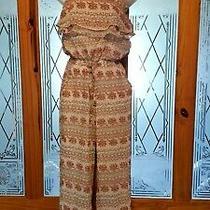 8 Medium Hudson Honey Paisley Boho Chiffon Jumpsuit Adjustable Straps Pockets Photo
