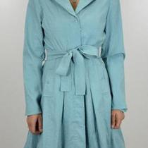 8 New Joseph Ribkoff Aqua Blue Taffeta Trench Bubble Hem Tie Belted Coat 01566 Photo