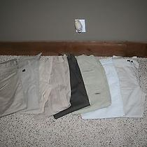 8 Pair of Men's Dress Pants All Name Brand Dockers Dkny Roundtree A.e. Etc. Photo
