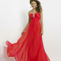 80% Off Prom Dress Long Blush Prom 9749 Color Persimmon Size 8 Photo