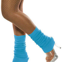 80's Neon Blue Knitted Leg Warmers Fancy Dress Costume Accessory Photo