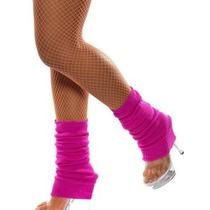 80's Neon Pink Knitted Leg Warmers Fancy Dress Costume Accessory Photo