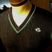 80's Preppy M Parker of Vienna Navy Cableknit Vneck Sweater Vest Crossed Tennis Photo