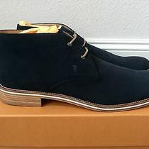 800 Tod's Dark Blue Suede Ankle Boots Size Us 12.5 Made in Italy Photo