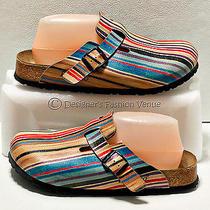 80f Papillio Shoes Size 8-8.5 Us/39 Eu Multi-Color Womens Slipper Buckle Cork Photo