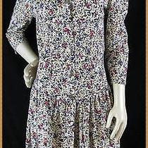 80s90s Vtg Rampage Abstract Floral Grunge Revival Punk Drop Waist Dress Small Photo