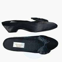 80s Deadstock Vtg Victoria's Secret Black Satin Bow Boudoir Slippers 9/10 Photo