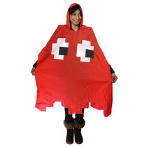 80s Fancy Dress Costume - Pacman Ghost Poncho - Available in Red or Blue Photo