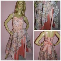 80s Vera Mont Blush Pink Lace Kitsch Prom Party Dress 12 M Evening 1980s Photo