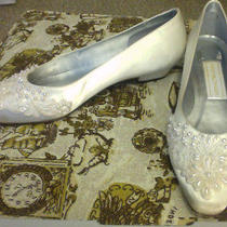 80s White Satin Applique Lace Beaded Jessica Mcclintock Wedding Shoes Size 7 Photo
