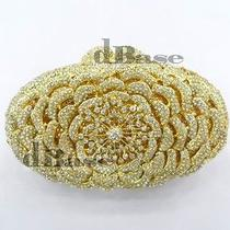 8247 Crystal Oval Floral Rose Gold Metal Evening Purse Clutch Bag Free Shipping Photo