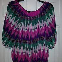 84nwt Vince Camuto Chiffon Vivid Pink Multi Color Off the Shoulder Top Pm Photo