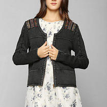 84389 Ecote Urban Outfitters Blanket Stripe Zip Up Black Sweat Jacket Top S 4 Photo