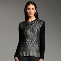 84narciso Rodriguez for Designation Foil Cable-Knit Sweater Black Gunmetal  Lar Photo