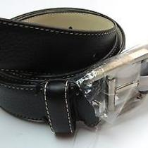 85 New Lacoste Leather Belt  Size 38 New With Tags Black 25024 Stiched Photo