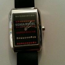 875 Designer Sonia Rykiel Nwt Black Swarovski Crystal Watch Authentic Gift New Photo