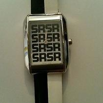 875 Designer Sonia Rykiel Nwt Black White Leather Watch Authentic Gift New Photo