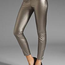 88 Blank Nyc Vegan Leather Leggings Pewter Pants Jeans Skinny Ankle Zip Size 24 Photo