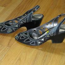89 Franco Sarto Sandals Wedge Black White Stitching Peep Toe 7m - Worn Once Photo