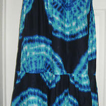 89 Nwt Jones New York Blue Aqua Tie Dye Boho Long Pleat Cotton Maxi Skirt M 8 Photo