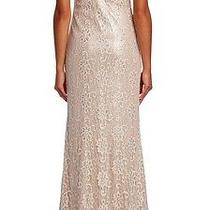 890  Badgley Mischka  Blush Lace Sequin Cocktail Wedding Dress Gown 10 Photo