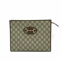 890 Gucci Brown Gg Supreme 1955 Horsebit Pouch Clutch Bag Euc Photo