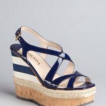 890 Prada Shoes Leather Cork Espadrille Platform Wedge Sandals 37.5 (8) Euc Photo