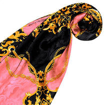 89128 Lorenzo Cana Exclusive Italian Scarf 100% Silk Rose Gold Black Paisley New Photo