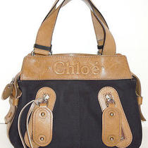 899 Authentic Chloe Black Canvas/leather Logo Tote Satchel Bag  Photo