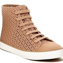9.5 Nib Tory Burch Perforated Floral Lace-Up High Top Flat Sneaker Leather Blush Photo