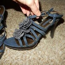 9 Bandolino Denim Strappy Flower Sandals Open Peep Toe Heels Dress Shoes Photo